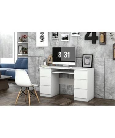 Biurko komputerowe Kuba, szerokość 130 cm, białe,