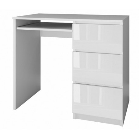 Biurko komputerowe Lima prawe, szerokość 98 cm, białe, połysk