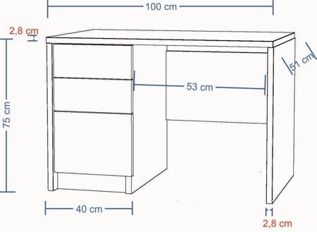 Biurko komputerowe, sonoma, 100 cm , 2 szuflady i drzwiczki