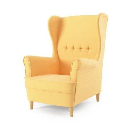 Fotel uszak Milo, styl skandynawski, kolor jasny żółty