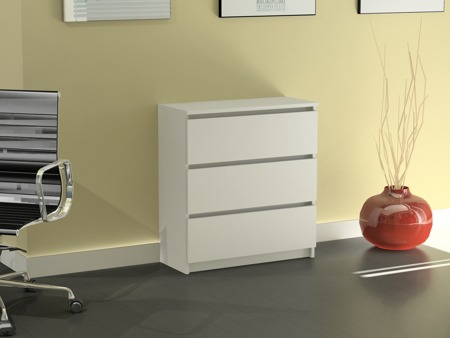 Komoda Rico 3 szuflady biała 80cm