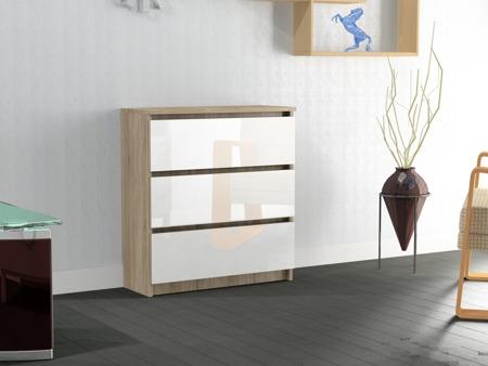 Komoda Rico 3 szuflady sonoma/biel z połyskiem 70cm