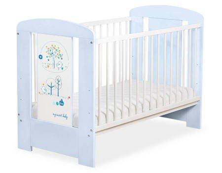 Łóżeczko 120x60cm Niebiesko-białe Lovely birds 5019-03-674