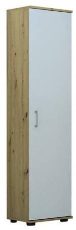 Regał biurowy G 40 1D Dąb Artisan z białymi drzwiami
