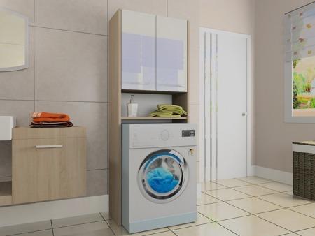 Szafka łazienkowa, wnękowa nad pralkę, kolor sonoma, Luna 64 cm, połysk akryl